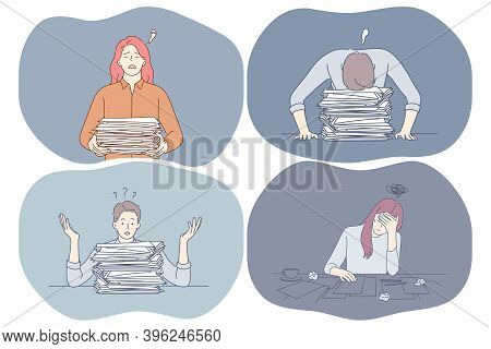 Stress, Overwork, Exhaustion, Overload Concept. Unhappy Depressed Young Office Workers Sitting With