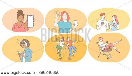 Smartphone, Online Communication, Chatting Concept. Young Teen People Friends Cartoon Characters Lis