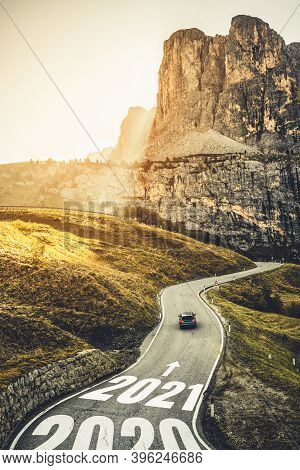 2021 New Year Road Trip Travel And Future Vision Concept . Nature Landscape With Highway Road Leadin