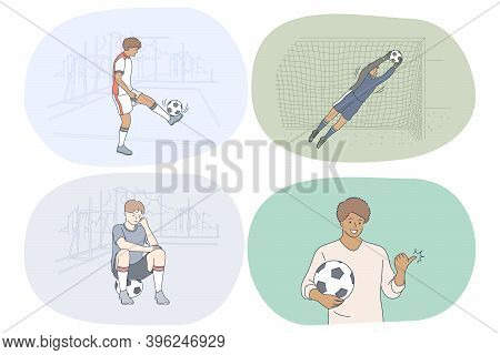 Professional Football Player, Soccer Ball And Match Concept. Young Men Football Players And Goalkeep