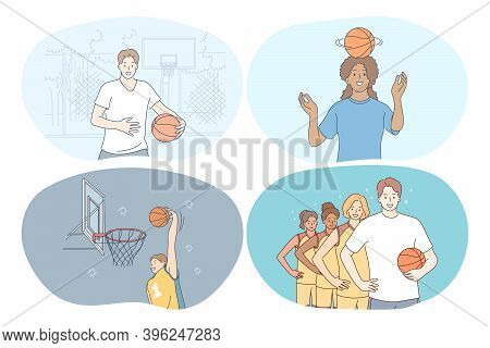Basketball, Sport, Team Competition Concept. Young Girls And Boys Basketball Players Training, Jumpi