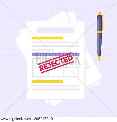 Rejected Credit Or Loan Form With File And Claim Form On It, Paper Sheets Isolated On Light Blue Bac