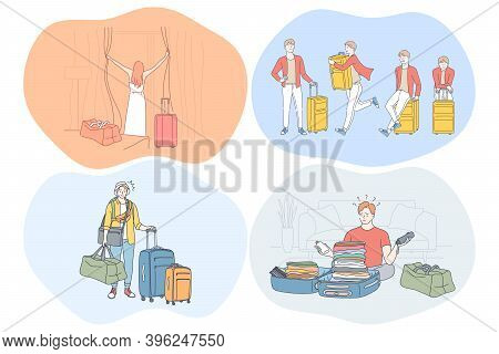 Travelling With Luggage, Vacations And Journey With Suitcases Concept. Young People Travellers Touri