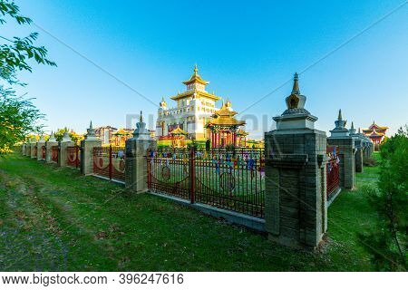 Burkhan Bakshin Altan Sume Or Golden Temple, Elista, Kalmukya, Russia.