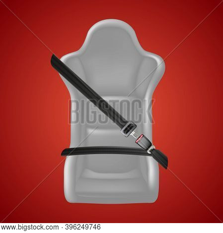 3d Realistic Safety Background On Red. Fasten Your Seat Sign With Fasten Belt And Car Seat.