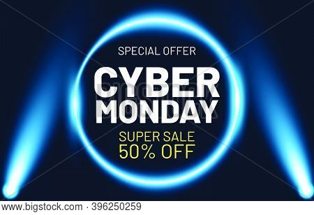 Cyber Monday Sale Illustration. Sale Banner Template For Promotion, Advertising, Social Media, Web B