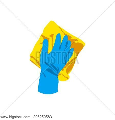 Hand In Rubber Glove Cleaning With Rug. Cleaning Service, Housework, Hygiene Cleanup Chores, Disinfe