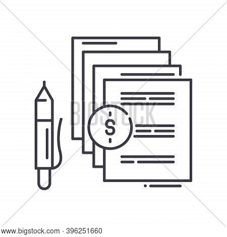 Paid Articles Icon, Linear Isolated Illustration, Thin Line Vector, Web Design Sign, Outline Concept