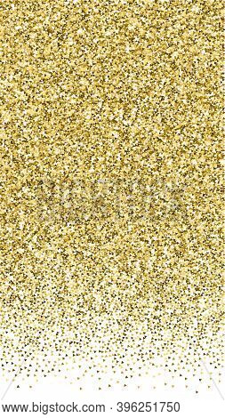 Gold Triangles Glitter Luxury Sparkling Confetti. Scattered Small Gold Particles On White Background