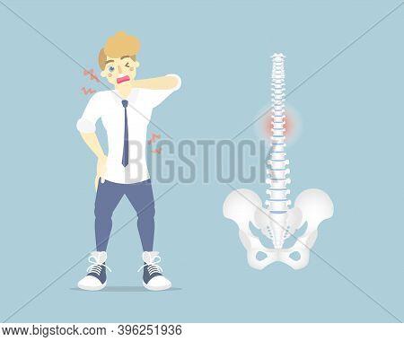 Man Having Back Pain, Backache, Neck, Upper, Lower, Waist Pain,  Anatomy Of Human Spine, Health Care