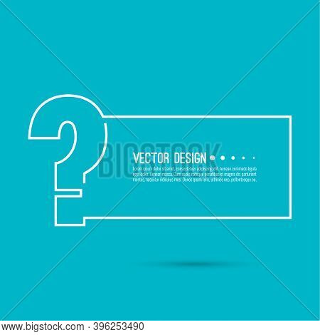 Question Mark Icon. Help Symbol. Faq Sign On Blue Background. Vector. Minimal, Outline. Quiz Symbol.