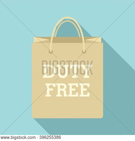 Duty Free Paper Bag Icon. Flat Illustration Of Duty Free Paper Bag Vector Icon For Web Design