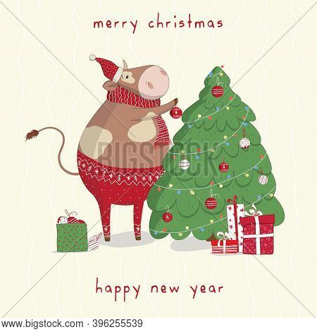 Cute Vector Bull Decorate The Christmas Tree With Toys.new Year's And Christmas Greeting Cards. Bann