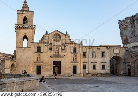 Matera, Italy - September 17, 2019: Church Of Saint Peter Caveoso N The Sassi Di Matera A Historic D