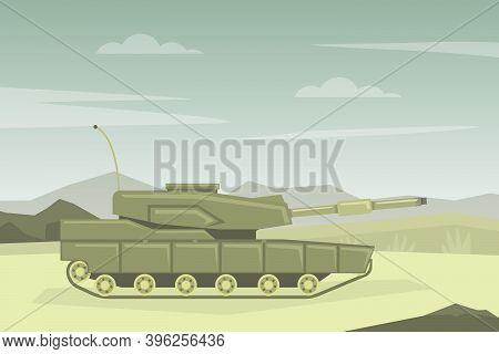 Modern Military Tank In Desert Landscape Flat Vector Illustration