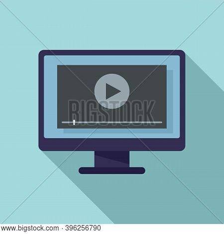 Monitor Screen Recording Icon. Flat Illustration Of Monitor Screen Recording Vector Icon For Web Des