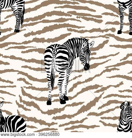 Hand Drawn Seamless Pattern Illustration With Safari Animals On Zebra Print Background . Cute Africa