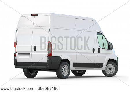 White van isolated on white. Rear view. Delivery and carrying transportation concept. 3d illustration