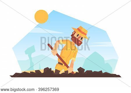Man Archeologist Digging Soil, Scientist Character During Archeological Excavations Cartoon Vector I