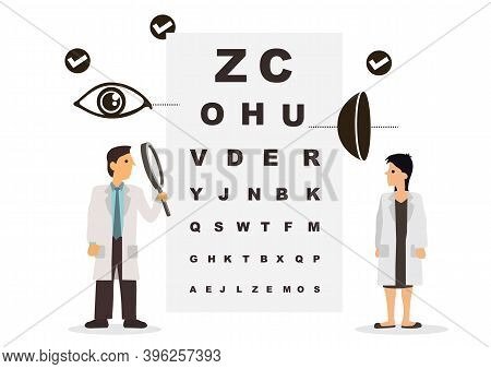 Vector Graphic Illustration Of Team Of Doctors Diagnose The Eye And The Graph. Ophthalmologist