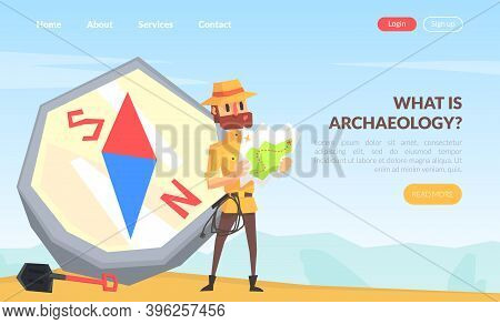 What Is Archeology Landing Page Template, Man Scientist Character During Archaeological Researches C