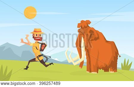 Man Archeologist Running Away From Mammoth, Scientist Character Working On Archeological Excavations