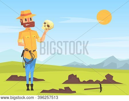 Man Archeologist Digging Soil, Scientist Character Researching Ancient Artifacts And Bones Cartoon V