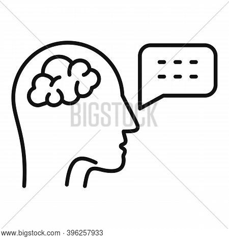 Brain Speech Therapist Icon. Outline Brain Speech Therapist Vector Icon For Web Design Isolated On W