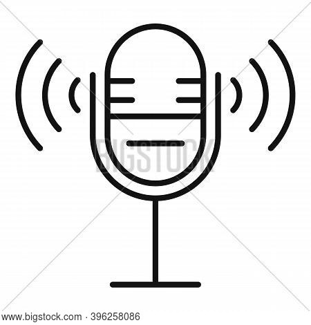 Microphone Speech Therapist Icon. Outline Microphone Speech Therapist Vector Icon For Web Design Iso