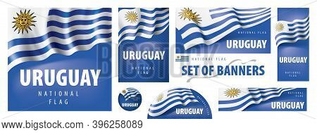 Vector Set Of Banners With The National Flag Of The Uruguay