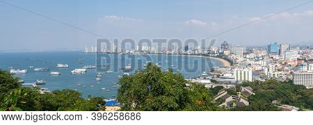 Panorama Cityscape Image Of Pattaya City From Pratumnak Hill Viewpoint, Chonburi, Thailand.