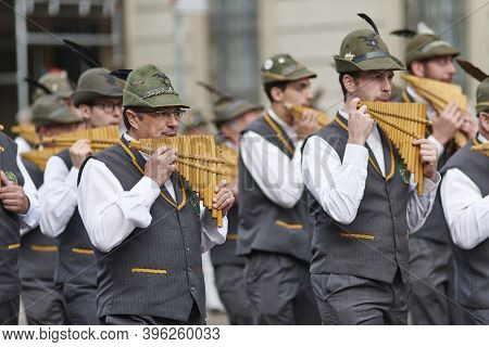 Alpine Band With Flutes During National Gathering
