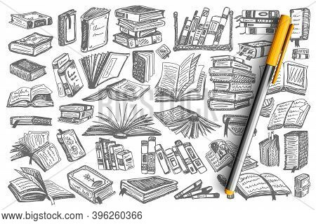 Books Doodle Set. Collection Of Book Covers And Pages Of Educational Library School University Textb