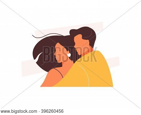 Hugging Couple In Love. Happy Valentine Day. Honeymoon Vector Illustration