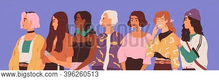 Young Diverse Woman Standing Together In Row. Female Diversity Concept. Group Of Different Modern Tr