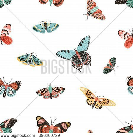 Seamless Pattern With Gorgeous Flying Butterflies. Design For Wallpaper Or Wrapping. Backdrop With B