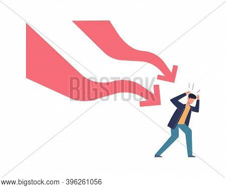 Falling Down Business Graph. Panic Businessman Afraid Arrow, Bankruptcy And Unpaid Loan Debt, Compan