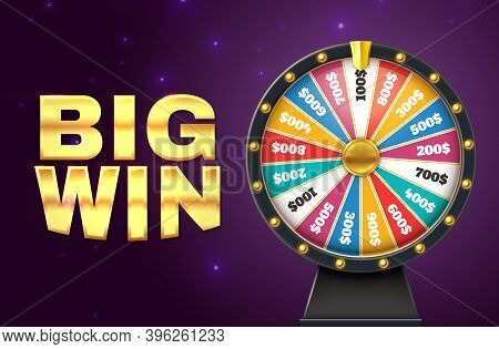 Big Win Banner. Realistic Colorful Lottery Wheel. Twisting Circle For Raffling Prizes On Starry Back