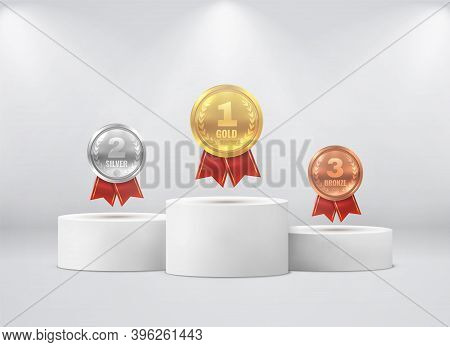 Medals On Pedestal. First, Second, Third Place On White Cylinder Podium Under Spotlights Realistic M