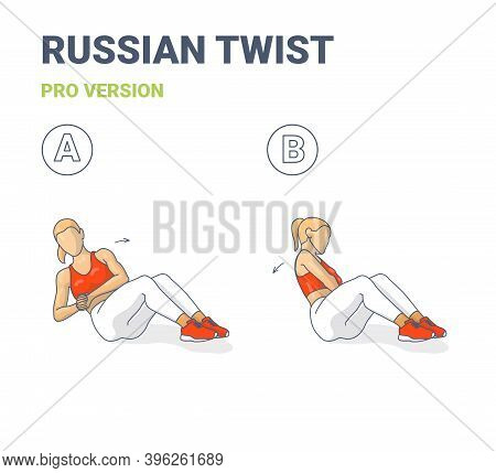 Russian Twists Female Home Workout Exercise Guide Illustration In Two Steps.