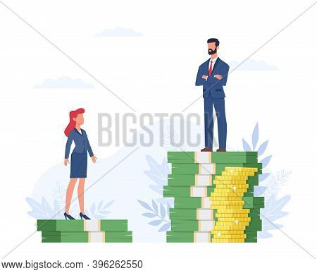 Gender Gap. Man And Woman Standing On Different Heights Dollar Bills Stack, Inequality In Salary, Di