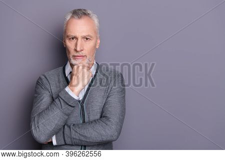 Portrait Of His He Nice-looking Attractive Content Minded Banker Financier Economist Business Shark