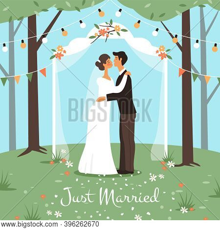 Wedding Marriage Ceremony. Bride And Groom Get Married, Happy Love Couple In Wedding Arch Kissing, R