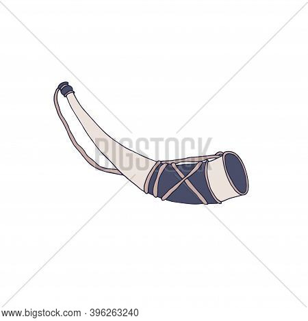 Medieval Hunting Horn. Chivalry Concept. Middle Ages Knight Equipment. Hand Drawn Vector Illustratio