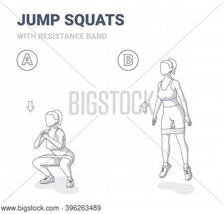 Squat Jumps With Resistance Band Female Home Workout Exercise Guidance.
