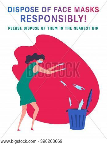 Dispose Of Face Masks Here. Correct Disposal Of Medical Supplies. Portrait Poster. Trash Can, Specia