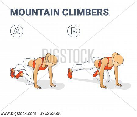 Mountain Climbers Home Workout Female Exercise Guide Illustration.