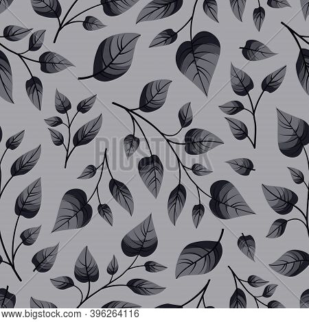 Vector Seamless Pattern With Grey Foliate Twigs.
