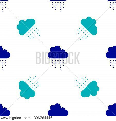 Blue Cloud With Rain Icon Isolated Seamless Pattern On White Background. Rain Cloud Precipitation Wi