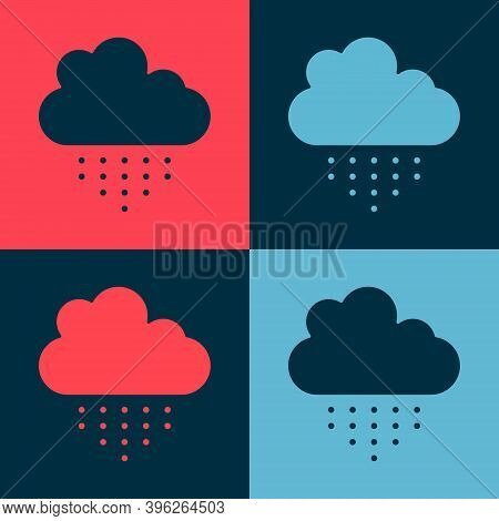 Pop Art Cloud With Rain Icon Isolated On Color Background. Rain Cloud Precipitation With Rain Drops.